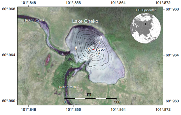 dibujo20130504-lake-cheko-bathymetric-map-and-location-of-sediment-core-tg-22-collected-during-the-tunguska-1999-expedition