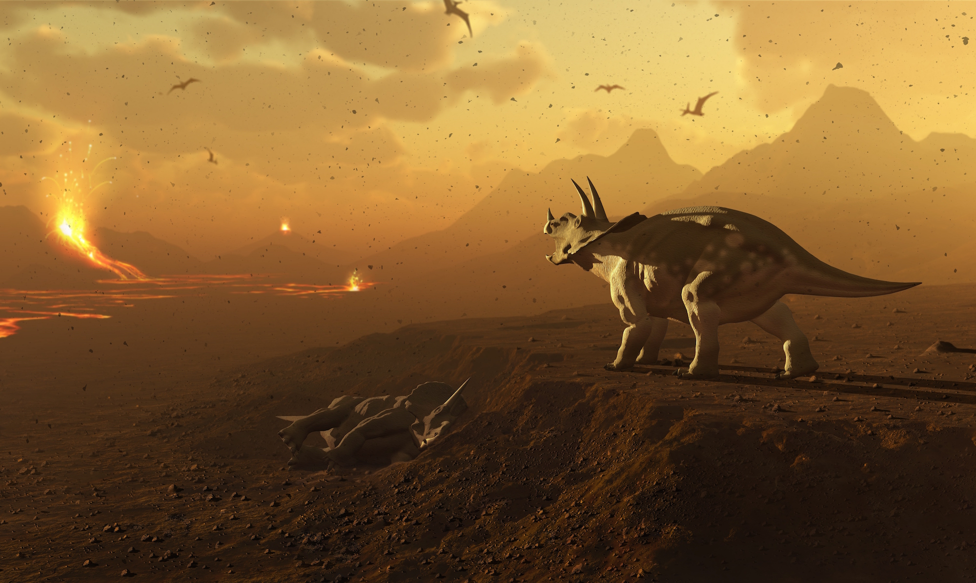Triceratops and volcanic landscape (Mark Garlick/Getty Images)