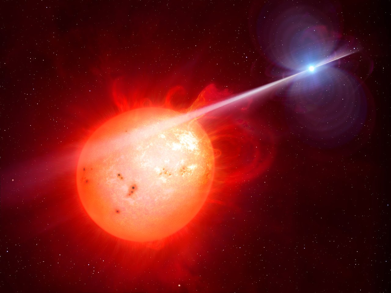 This artist's impression shows the strange object AR Scorpii. In this unique double star a rapidly spinning white dwarf star (right) powers electrons up to almost the speed of light. These high energy particles release blasts of radiation that lash the companion red dwarf star (left) and cause the entire system to pulse dramatically every 1.97 minutes with radiation ranging from the ultraviolet to radio.