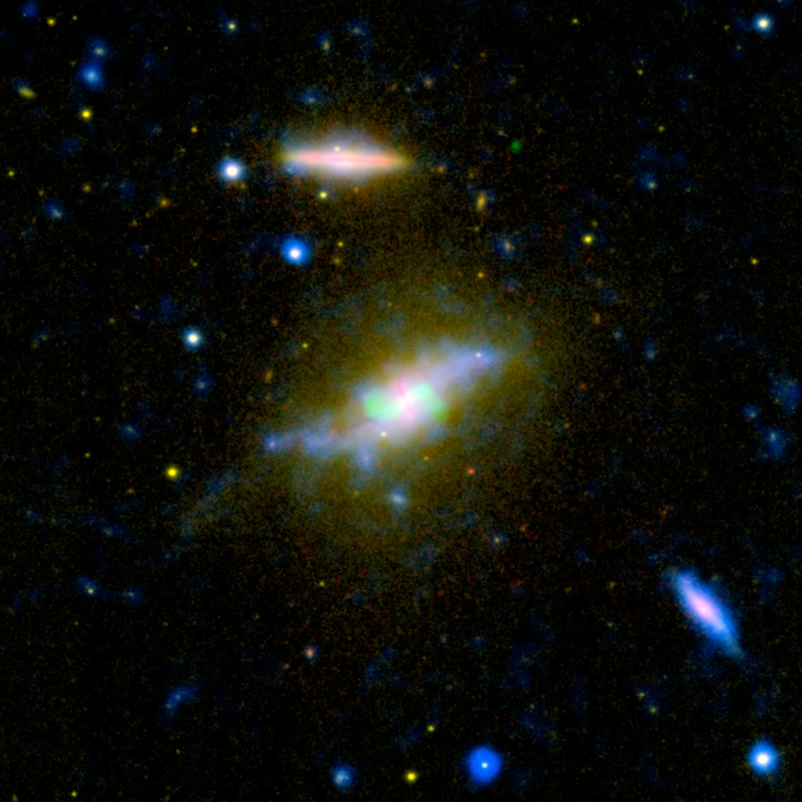 "Time is running out for the galaxy NGC 3801, seen in this composite image combining light from across the spectrum, ranging from ultraviolet to radio. NASA's Galaxy Evolution Explorer and other instruments have helped catch the galaxy NGC 3801 in the act of destroying its cold, gaseous fuel for new stars. Astronomers believe this marks the beginning of its transition from a vigorous spiral galaxy to a quiescent elliptical galaxy whose star-forming days are long past.Visible light from the Sloan Digital Sky Survey is seen in yellow shining from all of the galaxy's stars. Notice that NGC 3801 is starting to possess a broadly elliptical shape, the characteristic shape a galaxy assumes after forming from a merger of spiral galaxies. Some star formation is still taking place in NGC 3801, as shown in the ultraviolet by the Galaxy Evolution Explorer (colored blue), and in the dusty disk revealed in infrared light by NASA's Spitzer Space Telescope (red). According to theory, that lingering star formation will soon be quenched by shock waves from two powerful jets shooting out of NGC 3801's central giant black hole. Radio emissions from those jets appear in this image in green. Like a cosmic leaf blower, the jets' expanding shock waves will blast away the remaining cool star-making gas in NGC 3801. The galaxy will become ""red and dead,"" as astronomers say, full of old, red stars and lacking in any new stellar younglings.Near-ultraviolet light from the Galaxy Evolution explorer at a wavelength of 230 nanometers is rendered in blue, while visible light at 469 nanometers from Sloan is displayed in yellow. Infrared light at 8 microns from Spitzer is red, and radio emission at 20 centimeters from NRAO's Very Large Array is overlaid in green."