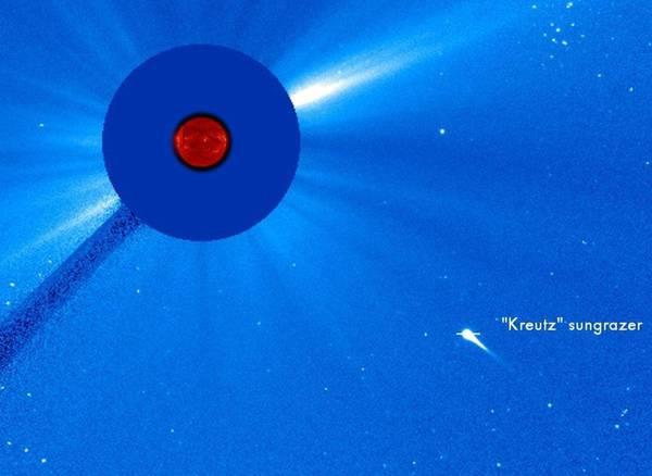 La cometa della famiglia di Kreutz che si sta avvicinando al Sole (fonte: Soho/Nasa/Esa)
