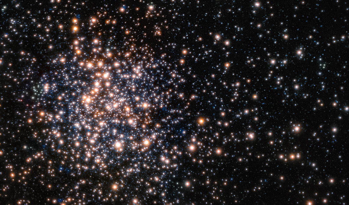 Peering through the thick dust clouds of the galactic bulge an international team of astronomers has revealed the unusual mix of stars in the stellar cluster known as Terzan 5. The new results indicate that Terzan 5 is in fact one of the bulge's primordial building blocks, most likely the relic of the very early days of the Milky Way. This picture is from theMulti-Conjugate Adaptive Optics Demonstrator (MAD), a prototype adaptive optics system used to demonstrate the feasibility of different techniques in the framework of the E-ELT and the second generation VLT Instruments. The star colours are from the Hubble image of the same star field.