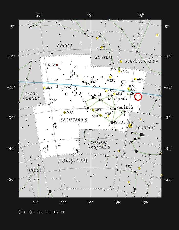 The location of the star cluster Terzan 5