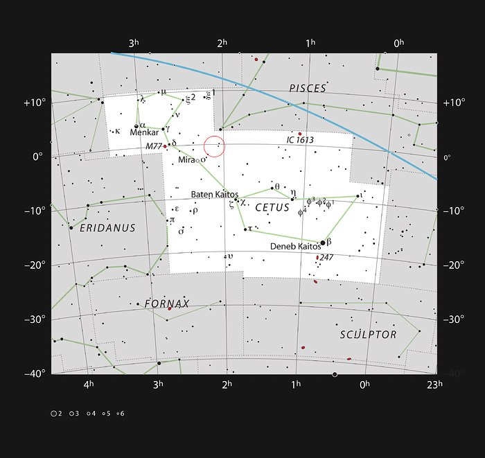 The location of the galaxy Markarian 1018 in the constellation o