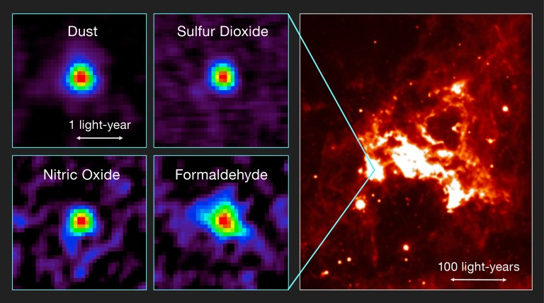 ALMA results and the region seen in infrared light