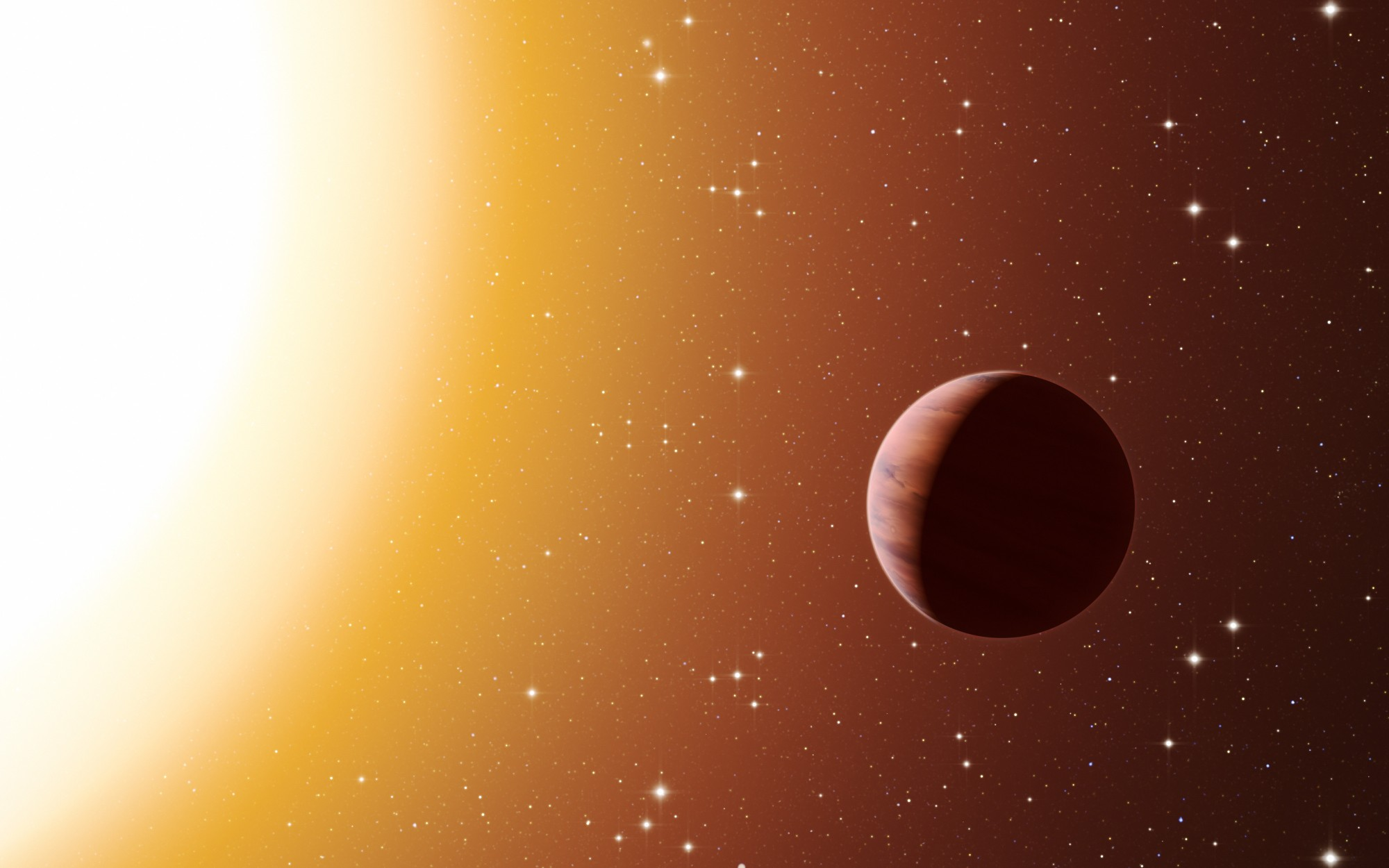 This artist's impression shows a hot Jupiter planet orbiting close to one of the stars in the rich old star cluster Messier 67, in the constellation of Cancer (The Crab). Astronomers have found far more planets like this in the cluster than expected. This surprise result was obtained using a number of telescopes and instruments, among them the HARPS spectrograph at ESO's La Silla Observatory in Chile. The denser environment in a cluster will cause more frequent interactions between planets and nearby stars, which may explain the excess of hot Jupiters.