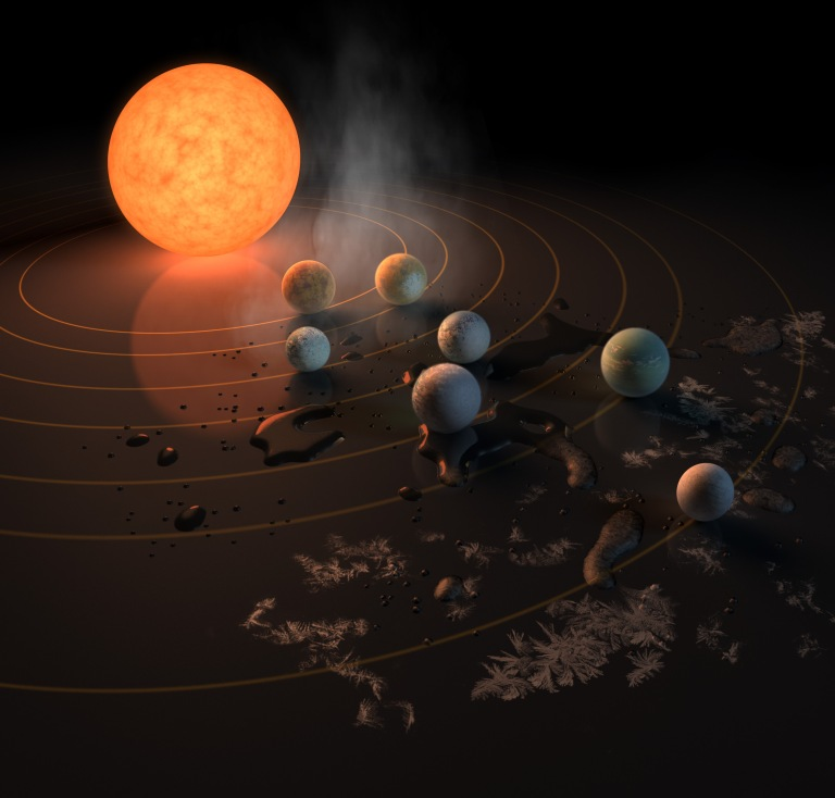 The TRAPPIST-1 star, an ultra-cool dwarf, has seven Earth-size planets orbiting it. This artist's concept appeared on the cover of the journal Nature in Feb. 2017 announcing new results about the system.