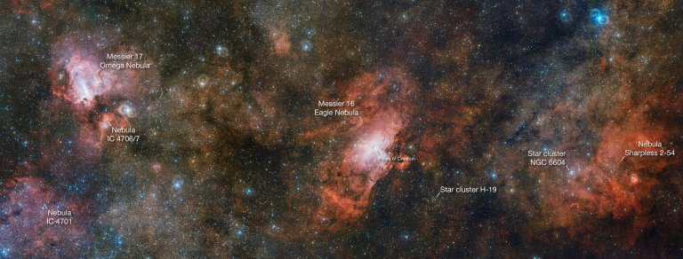 The VST captures three spectacular nebulae in one image (annotat